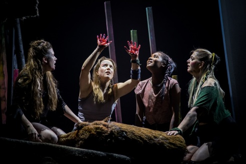 Lord of the Flies-63_Roger_HannahBoyce Jack_KateLamb Maurice_LeahWalker Henry_LauraSingleton. CreditSamTaylor